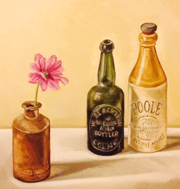 Bottles and pink flower 2014