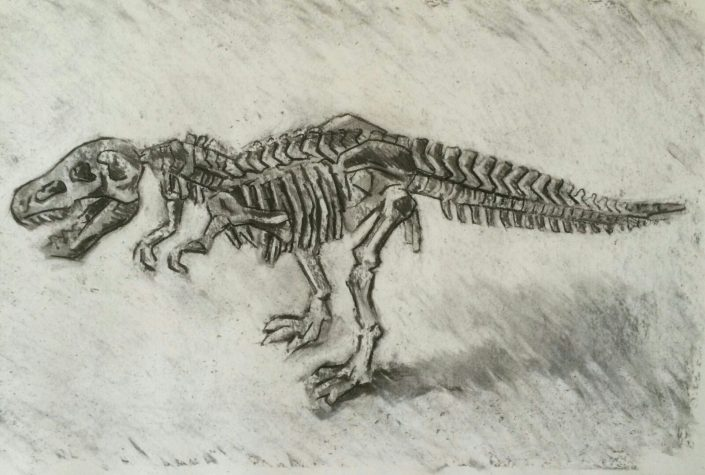 T-rex skeleton, charcoal 2016